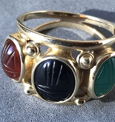 Egyptian Scarab Beetle Onyx, Jade, Opal Gemstone Ring 14k Solid Gold Small 5 6