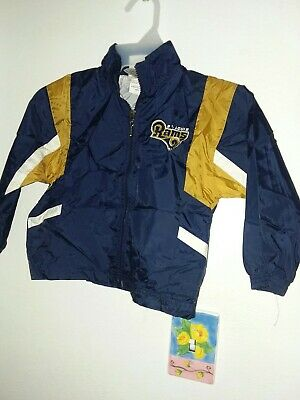 St. Louis Rams toddler boys l/s windbreaker jacket pockets zipper front blue 4T