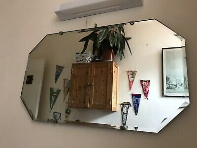 "Vintage Frameless Foxed Wall Mirror Bevelled Art Deco Original Chain 24"" X 14"""