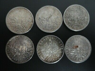 Lot De 6 Pieces 5 Francs Semeuse Argent 1960 1961 1963 1964 1965 Silver