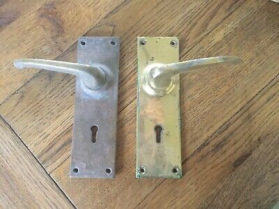 Pair Of Solid Brass Handles With Key Holes