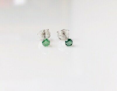 0.14ct Round Enhanced Green Solitaire Diamond 14K White Gold Stud Earrings