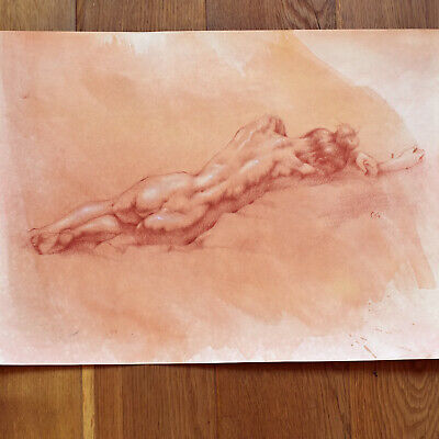 AKTzeichnung Kreide Rötel ~ Nude Drawing Red Orange Chalk ~ Nu Dessin Croyans