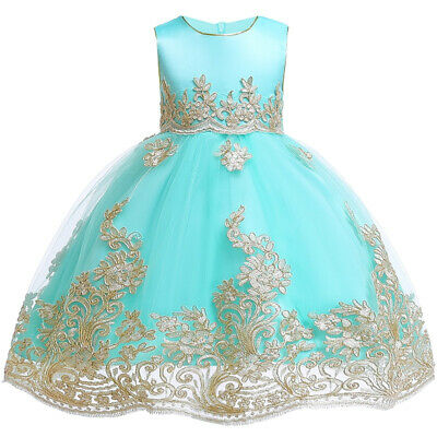 Children Embroidered Floral Formal Dress Princess Gown Flower Girl Party Dresses