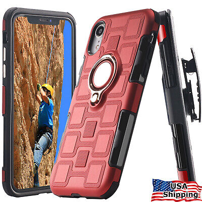 For iPhone XR/ X/ XS/ XS MAX 6 7 & 8 Plus Ring Case Belt Clip Holster Clip Cover