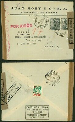 Spain WWII 1943 - Air Mail cover Villafranca to Geneva Switzerland - Censor