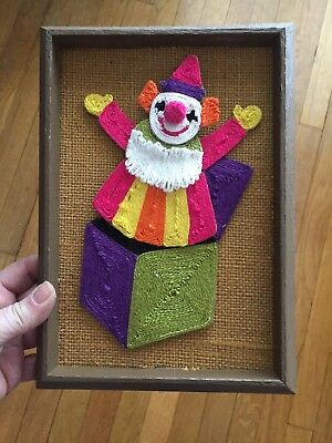 "3D Yarn Art by Revell Jack In The Box CLOWN! 5x7"" VGC MCM Cute! Toy Nursery"