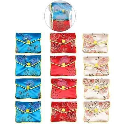 12pcs Chinese Traditional Brocade Pouch Silk Embroidery Jewelry Bag Wallet 7*8cm
