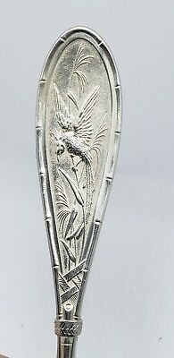 Sterling Silver Black Starr Frost Serving Spoon Bamboo Exotic Bird