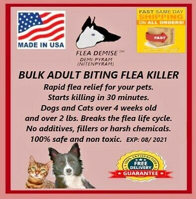 Flea Demise 500 doses Cats Dogs up to 25 lbs 100% guaranteed free same day ship