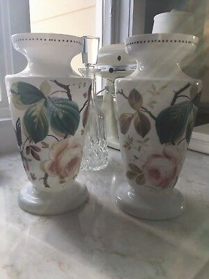 Fine Pair Of Antique Bristol Hand Painted  Floral Glass Vases