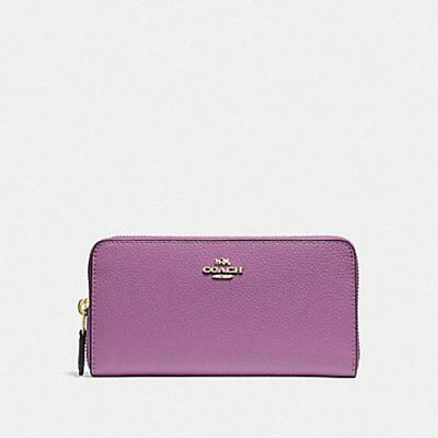 New Coach  F16612 ACCORDION ZIP WALLET in Pebble Leather/Primrose $250