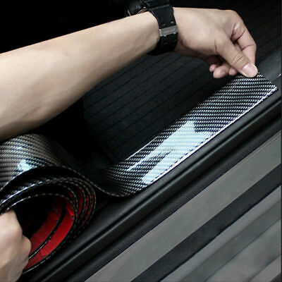 3CM*1M Carbon Fiber Rubber Car Bumper Strip Edge Guard Strip Door Sill Protector