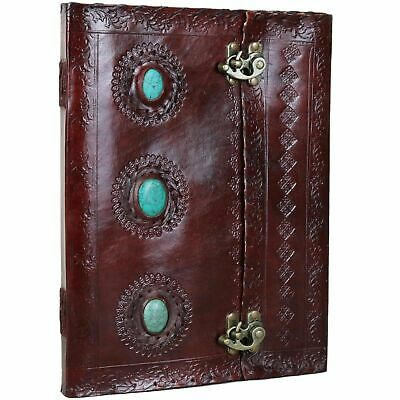 """3 Stone Leather Journal Handmade Notebook Diary - 10"""" X 13""""- Turquoise"""