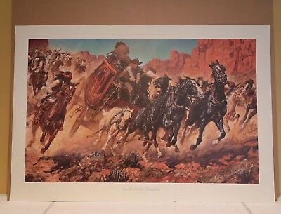 Arnold Friberg TROUBLE FOR THE BUTTERFIELD Stagecoach Native American #1746/1900