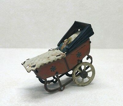Antique Germany Tin Metal Baby Carriage Stroller Figurine 18th Century