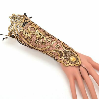 Vintage Medieval Queen's Lace Hollow Out Glove Victorian Gothic Golden Wristband