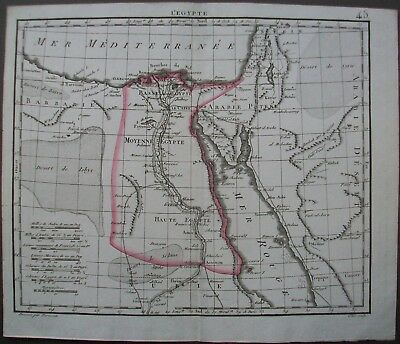 1816 Egypt Red Sea Antique Map Africa Herisson Copper Plate Engraving by Glot