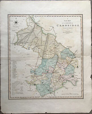 100% Original Large Map of CAMBRIDGE by Charles Smith c1804 colour, antique