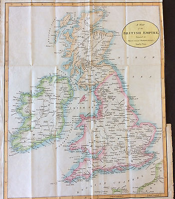 Map of British Empire c1804 for Priscilla Wakefield Tour, original antique, Hcol