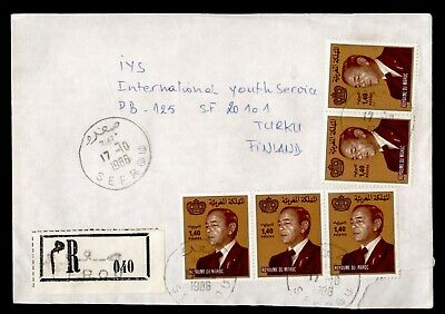 DR WHO 1986 MOROCCO SEFROU REGISTERED TO FINLAND PORTRAIT PAIR/STRIP  d93631