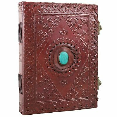 Turquoise Stone Embossed Leather Journal Notebook Diary Handmade Unlined Blank