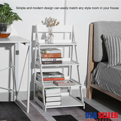 White 4-Tier Bookcase Bookshelf Leaning Wall Plant Shelf Ladder Storage Display