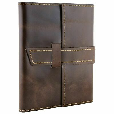 Refillable Leather Journal with Belt Strap Notebook Diary Handmade Blank Unlined