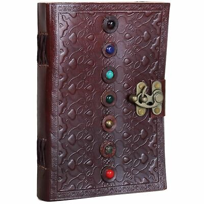 Seven Stone Leather Journal with Top Latch Notebook Diary Handmade Unlined Blank