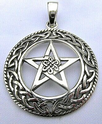 Sterling Silver (925)  Pentagram  In  Celtic  Circle  Pendant     !!     New  !!