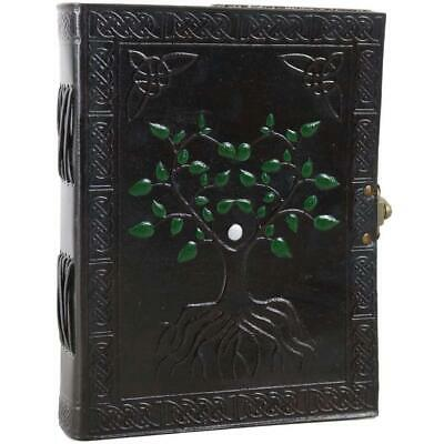 "Tree of Life Leather Journal Hand Painted Unlined Blank Notebook Sketchbook 6"" X"