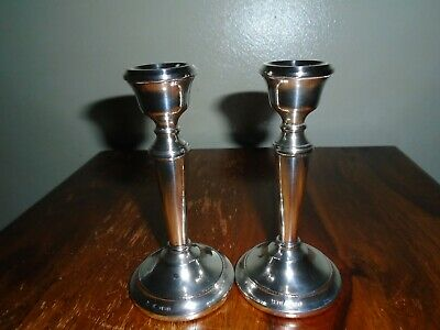 A Lovely Pair of Solid Silver Dwarf Candlesticks Fully Hallmarked.