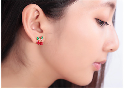 Fashion Women Lady Red Cherry Ear Stud Crystal Rhinestone Earring wedding gifts