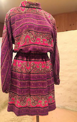VINTAGE 60s 70s mini dress small Purple PAISLEY print hippie psychedelic flare