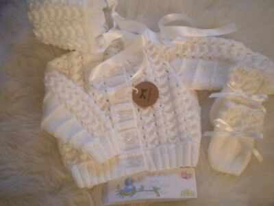 Hand Knitted White Baby Set: Cardigan matching Bonnet & Mittens -size 0-3 months