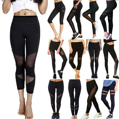 Women Ladies High Waist Yoga Leggings Trousers Mesh Gym Sports Fitness Pants UK
