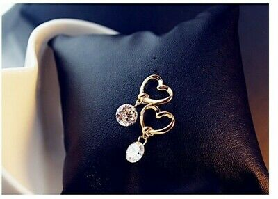 Women Elegant Crystal Glitter gold Heart Ear Stud Rhinestone Earrings Jewelry