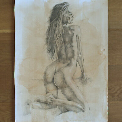 Original AKT 30*40cm Kreide&Aquarell ~ Pencil on Wash ~ Crayon&Aquarelle ~