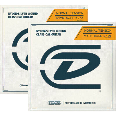 Dunlop 2-PACK of DCV100NB Ball-End Classical Guitar Strings, Nylon/Silver Wound