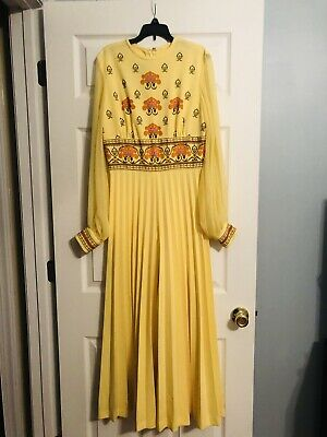 70's Alfred Shaheen Yellow Palazzo Jumpsuit M