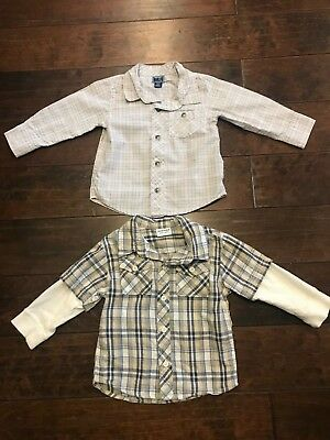 Toddler Boy Long Sleeve Old Navy Plaid Shirts 18-24 Months