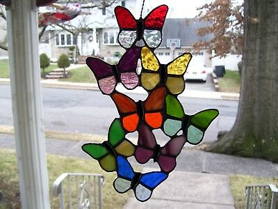 Stained Spring Butterflies Sun-catcher (Real Glass)