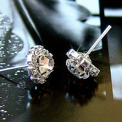 Fashion Women Ladies Silver Ear Stud Rhinestone Earrings Jewellery Wedding Gifts