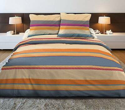 Housse de couette 220x240 + 2 taies Pur coton 57 fils MADISON ORANGE