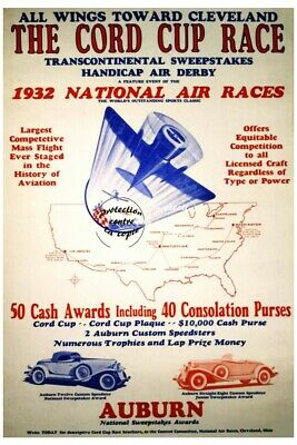 AVIATION:1932 NATIONAL AIR RACE Rf38-VINTAGE POSTER REPRINT A3+(*)