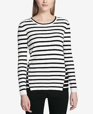 13e300df1e0 CALVIN KLEIN  79 Womens New 1571 Black Striped Long Sleeve Top XS B+B