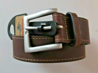 Winchester Mens Genuine Leather Brown Belt with Metal Vintage Buckle Free Ship