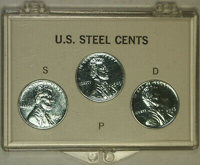 1943 Lincoln Steel Cents Complete Set *Reprocessed* in Plastic Case