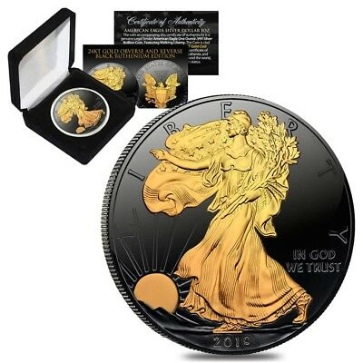 2019 1 oz Silver American Eagle $1 Coin Black Ruthenium 24K Gold Edition (w/Box