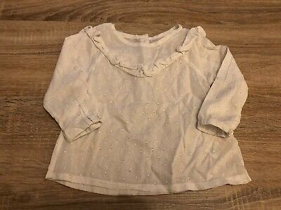 Baby Girls White Long Sleeved Top From Matalan Size 12-18months